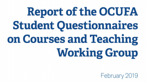 Briefing note: Report of the OCUFA Student Questionnaires on Courses and Teaching Working Group